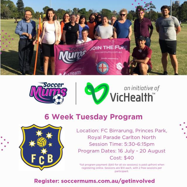 FC Birrarung Soccer Mums - Term 3 Tuesday 6 Week Program